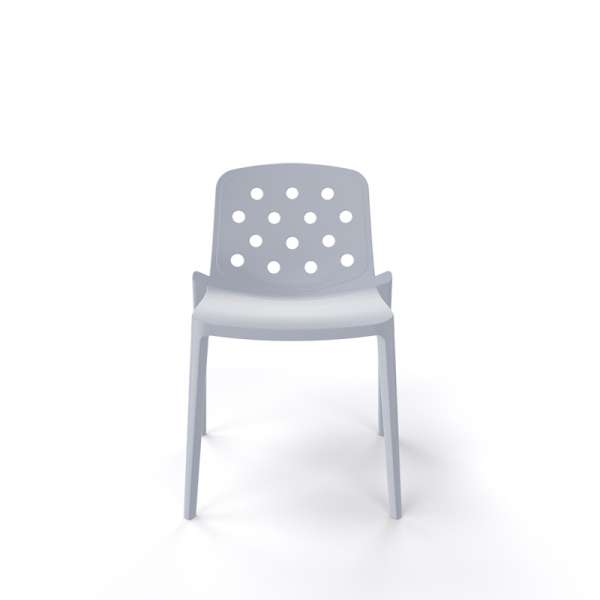 Chaise moderne empilable en plastique gris clair - Isidora - 10