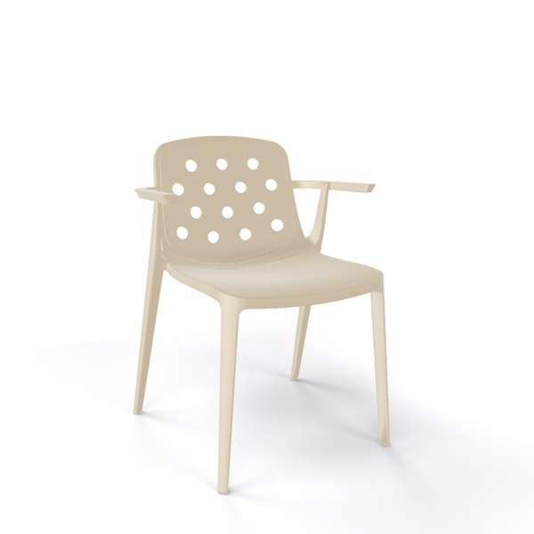 Chaise d'extérieur avec accoudoirs design en plastique sable - Isidora - 19