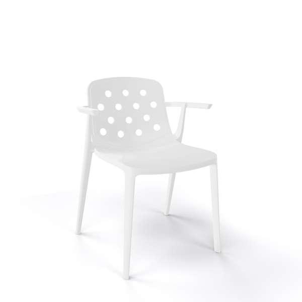 Chaise moderne avec accoudoirs empilable en plastique blanc - Isidora - 16