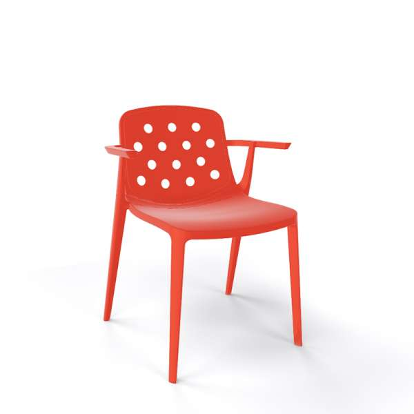 Chaise moderne avec accoudoirs empilable en plastique homard - Isidora - 17