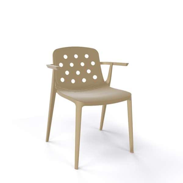 Chaise moderne avec accoudoirs empilable en plastique taupe - Isidora - 18