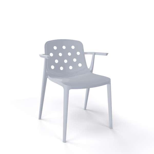 Chaise moderne avec accoudoirs empilable en plastique gris- Isidora - 20
