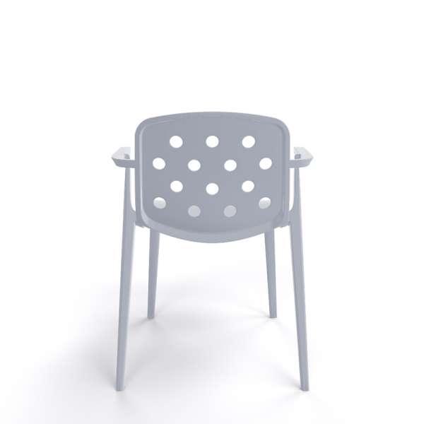 Chaise moderne avec accoudoirs empilable en plastique gris clair - Isidora - 21