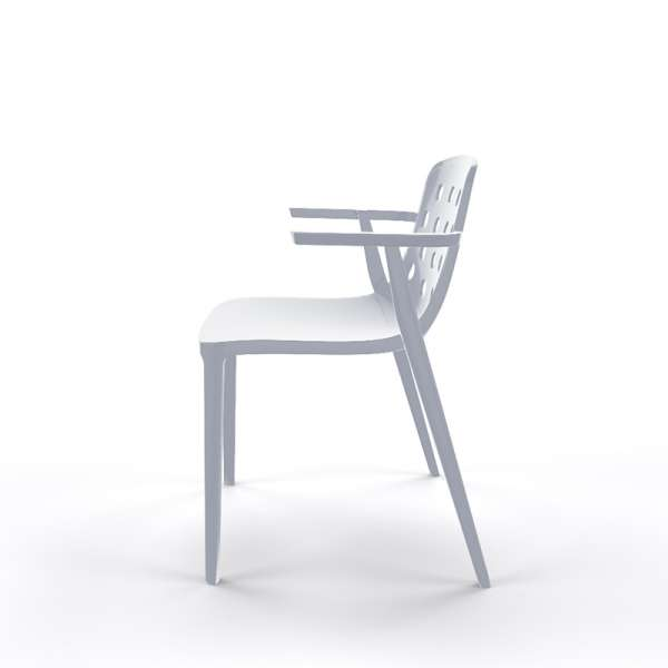 Chaise avec accoudoirs empilable gris clair - Isidora - 23