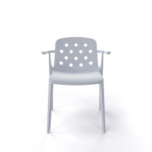 Chaise avec accoudoirs empilable en plastique gris clair - Isidora - 24