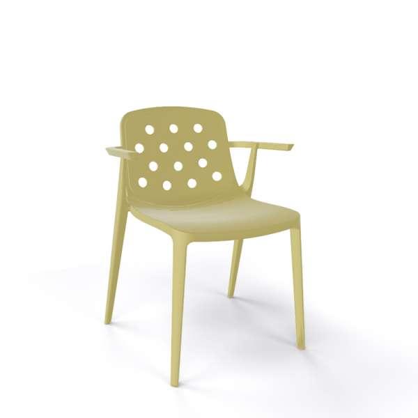 Chaise moderne avec accoudoirs empilable en plastique vert sauge - Isidora - 15