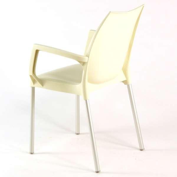 Chaise de jardin avec accoudoirs beige empilable avec ou sans accoudoirs - Tulip - 13