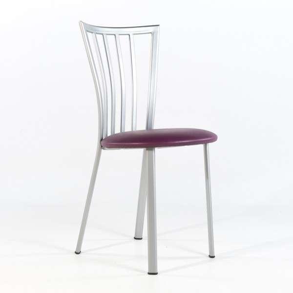 Chaise de cuisine à barreaux avec assise rembourrée et pieds en métal - Era