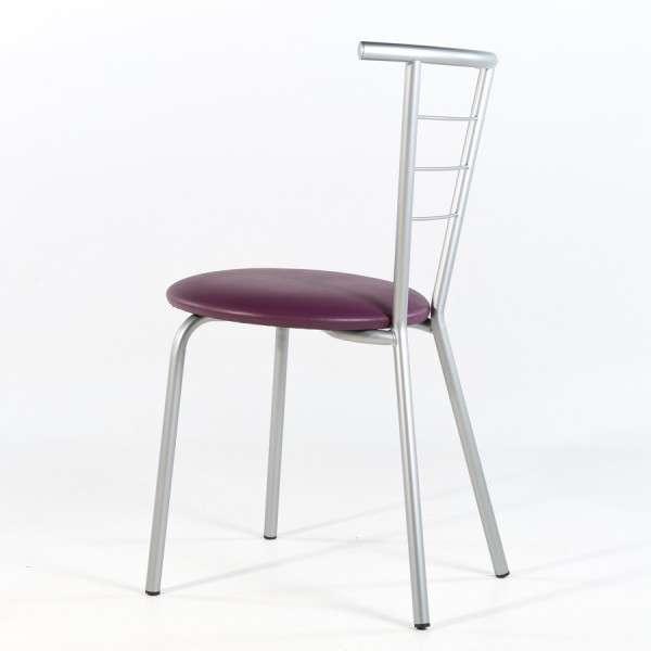 Chaise contemporaine violet rembourrée avec pieds et dossier en métal - Valérie - 7