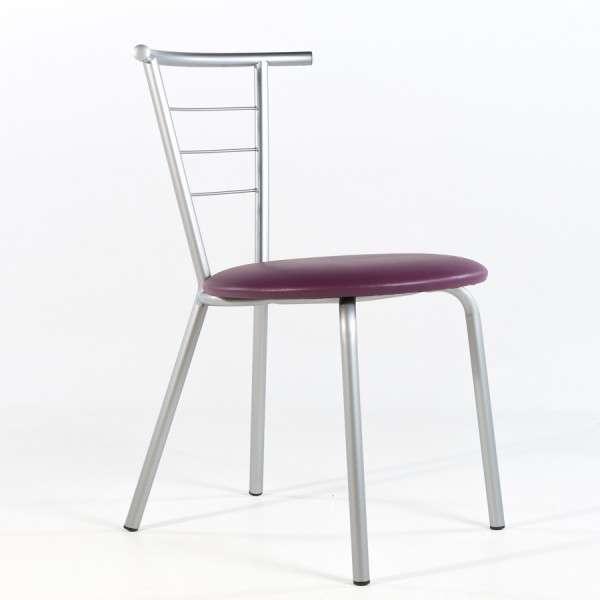 Chaise contemporaine assise violet rembourrée avec pieds et dossier en métal - Valérie - 6