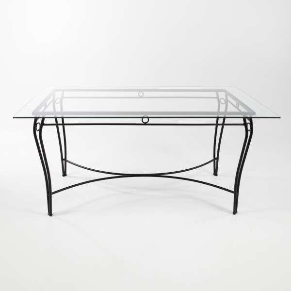 Table d'extérieur provençale en verre trempé et acier noir - Pisa - 2