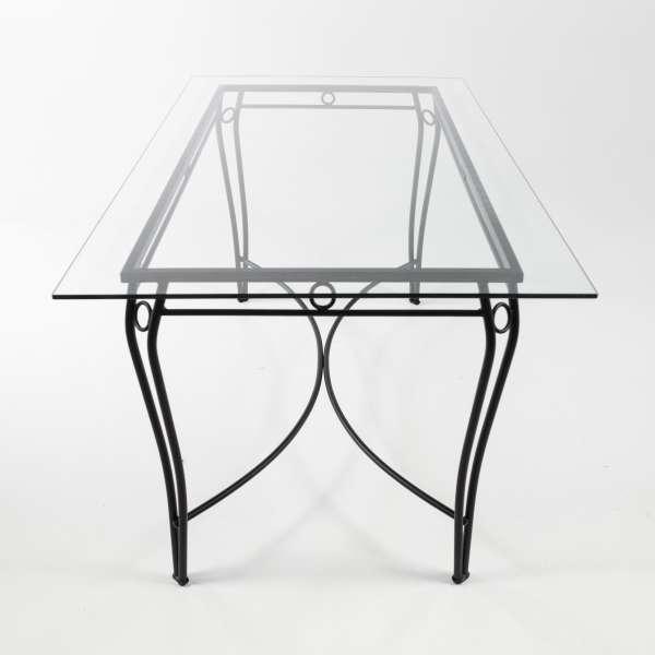 Table de terrasse provençale en verre trempé imitation fer forgé - Pisa - 3