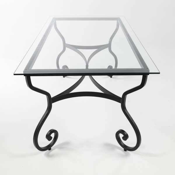 Table d'extérieur provençale en verre avec pieds en métal noir - Damasco - 3