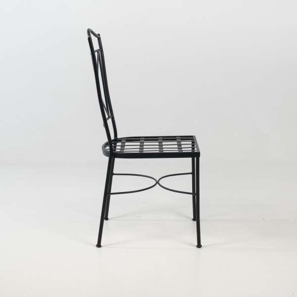 Chaise d'extérieur provençale en métal noir - Pisa - 4