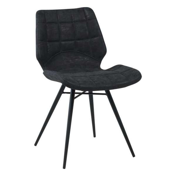 Chaise design rembourrée inspiration vintage noir patiné avec pieds en métal noir - Iberis - 6