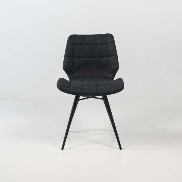 Chaise design rembourrée inspiration vintage noir patiné avec pieds en métal noir - Iberis - 7