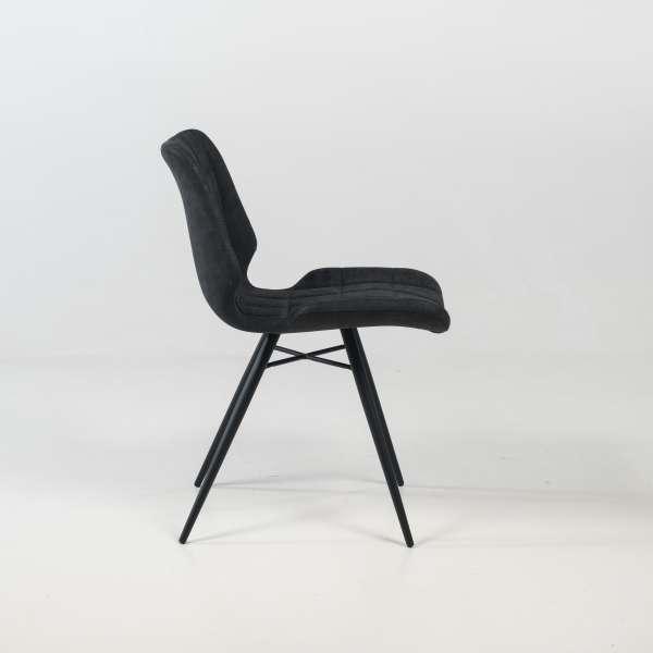 Chaise design rembourrée inspiration vintage noir patiné avec pieds en métal noir - Iberis - 8