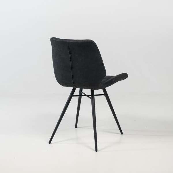 Chaise design rembourrée inspiration vintage noir patiné avec pieds en métal noir - Iberis - 9