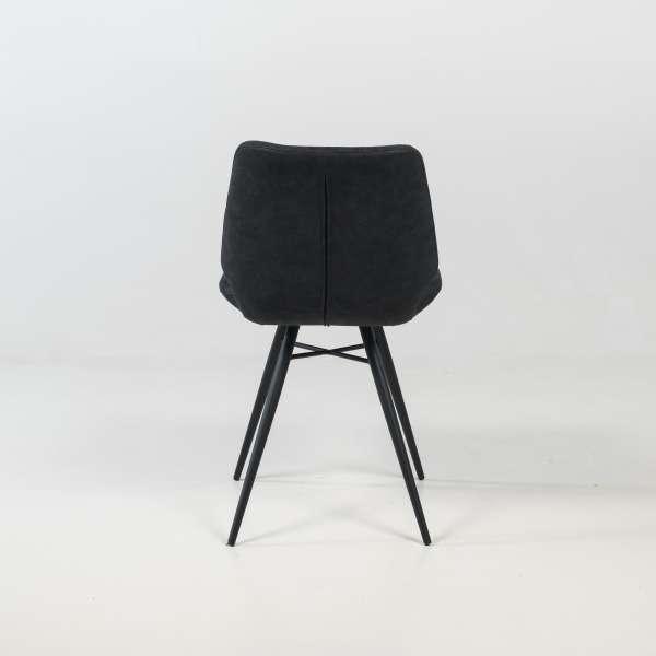 Chaise design rembourrée inspiration vintage noir patiné avec pieds en métal noir - Iberis - 10