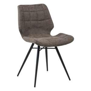 Chaise design rembourrée inspiration vintage gris mat patiné avec pieds en métal noir - Iberis
