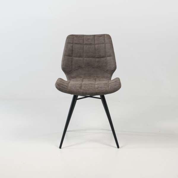 Chaise design rembourrée inspiration vintage gris mat patiné avec pieds en métal noir - Iberis - 2