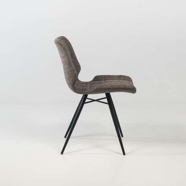 Chaise design rembourrée inspiration vintage gris mat patiné avec pieds en métal noir - Iberis - 3