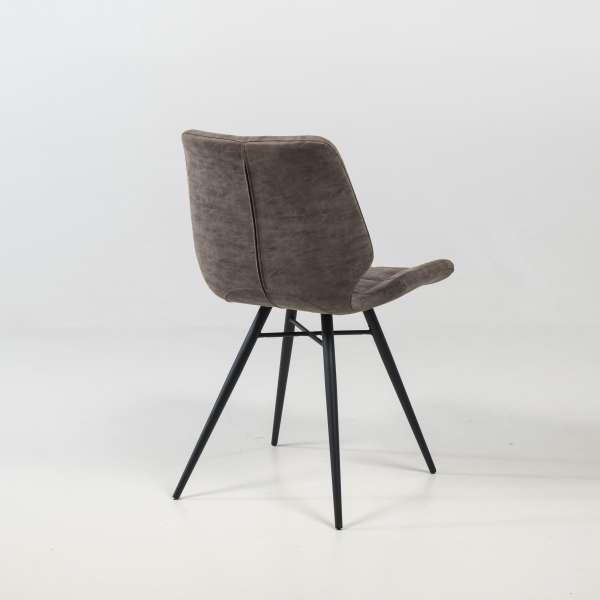 Chaise design rembourrée inspiration vintage gris mat patiné avec pieds en métal noir - Iberis - 4