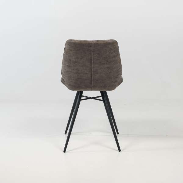 Chaise design rembourrée inspiration vintage gris mat patiné avec pieds en métal noir - Iberis - 5