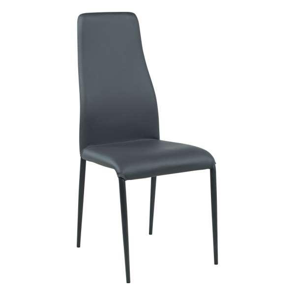 Chaise de salle à manger en synthétique gris et métal - Mirta - 1
