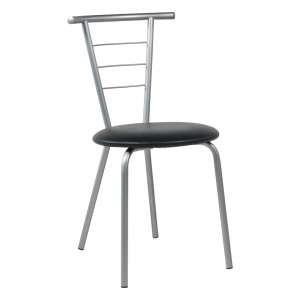 Chaise de cuisine contemporaine assise noire rembourrée avec pieds et dossier en métal - Valérie
