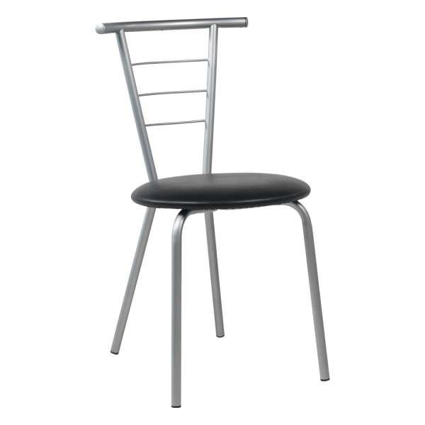 Chaise de cuisine contemporaine assise rembourrée avec pieds et dossier en métal - Valérie
