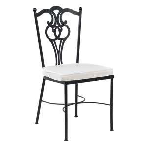 Chaise de jardin provençale en acier noir avec coussin blanc - Viena