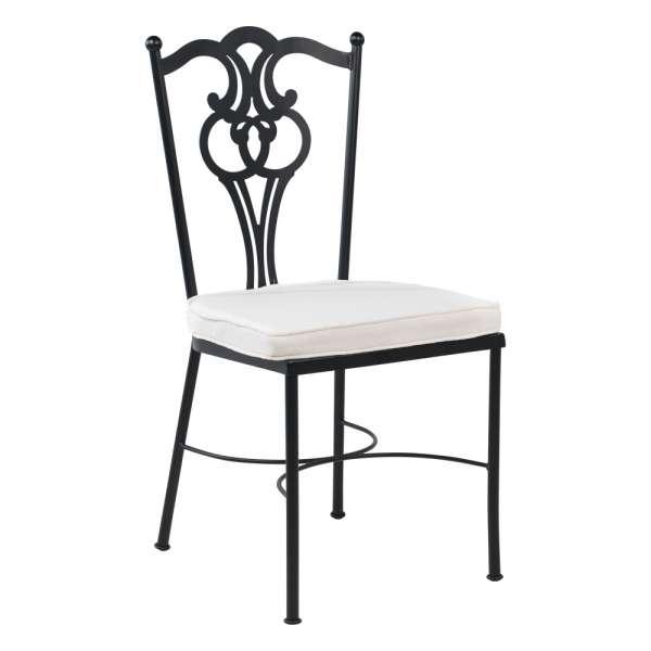 Chaise de jardin provençale en acier noir avec coussin blanc - Viena - 1