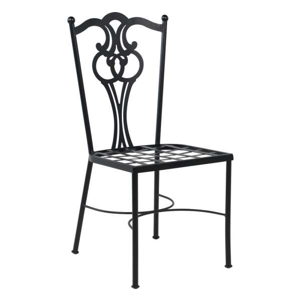 Chaise de jardin provençale en métal noir - Viena - 2