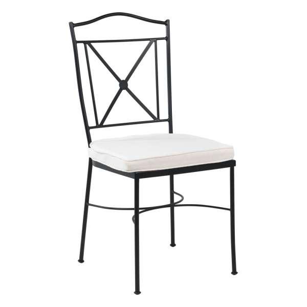 Chaise de jardin provençale en acier noir coussin blanc - Pisa - 1