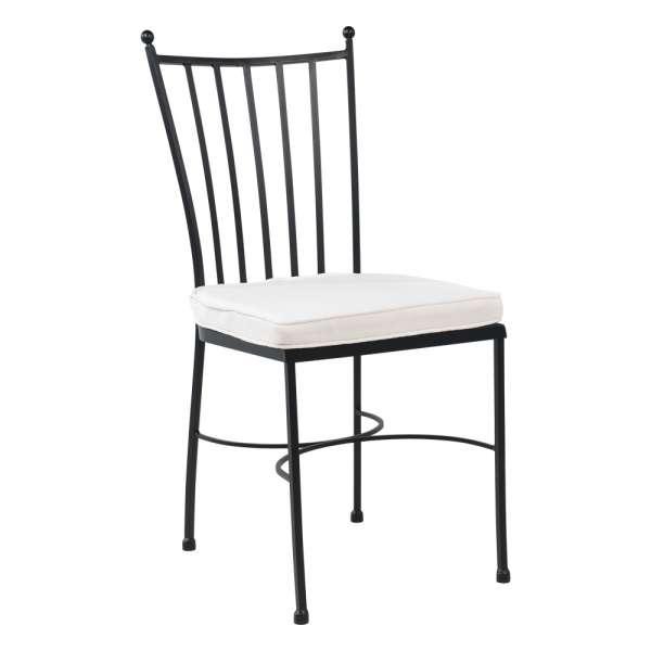 Chaise style provençal en acier noir avec coussin blanc - Venecia - 1