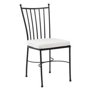 Chaise de jardin en acier noir style provençal coussin blanc - Venecia
