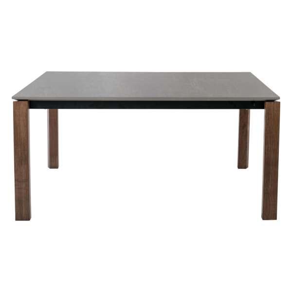 Table en céramique gris taupe et pieds en bois foncé avec allonges - 1