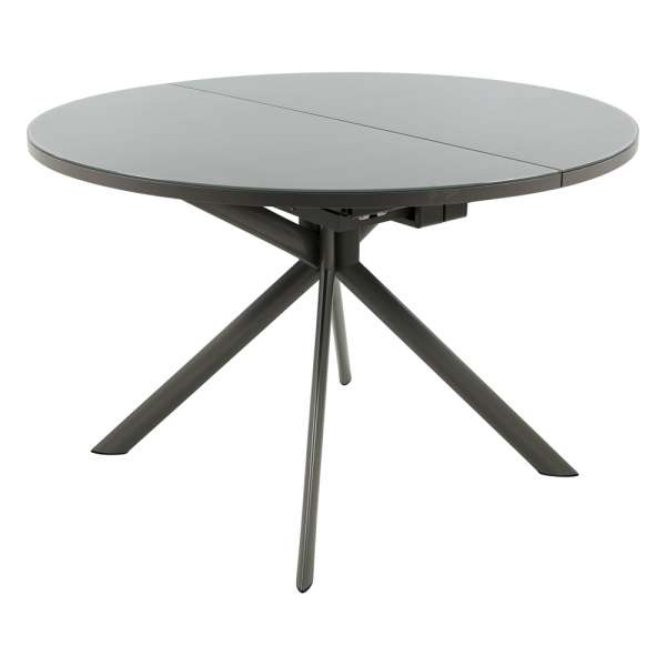 Table ronde extensible en verre grège - Giove - 2