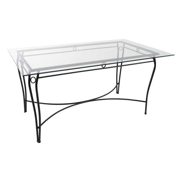 Table provençale en verre trempé et métal noir - Pisa - 1