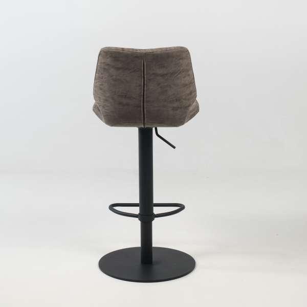 Tabouret tournant et réglable coque matelassée et patinée gris mat avec pied en métal noir - Indica - 10