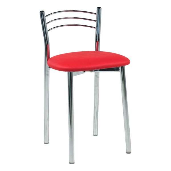 Tabouret bas de cuisine rembourré assise synthétique rouge carmin michigan et structure métal - Marta - 2