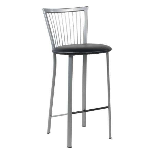Tabouret snack avec assise noire ronde rembourrée et pieds et dossier à barreaux en métal - Fanny - 1