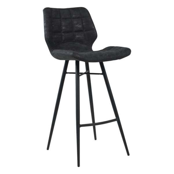 Tabouret design inspiration vintage coque matelassée patinée noir mat et pieds en métal noir - Impia - 1