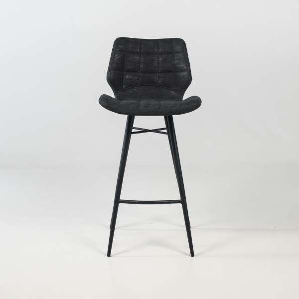 Tabouret design inspiration vintage coque matelassée patinée noir mat et pieds en métal noir - Impia - 2