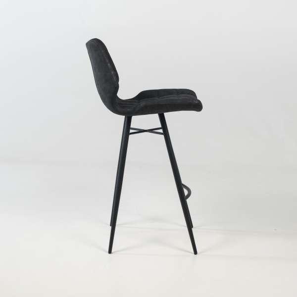 Tabouret design inspiration vintage coque matelassée patinée noir mat et pieds en métal noir - Impia - 3