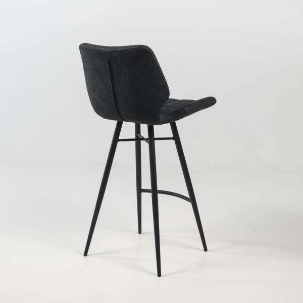 Tabouret design inspiration vintage coque matelassée patinée noir mat et pieds en métal noir - Impia - 4