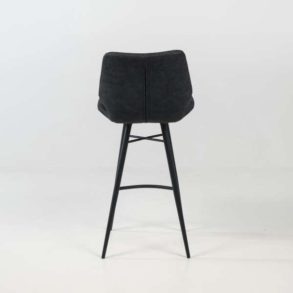 Tabouret design inspiration vintage coque matelassée patinée noir mat et pieds en métal noir - Impia - 5