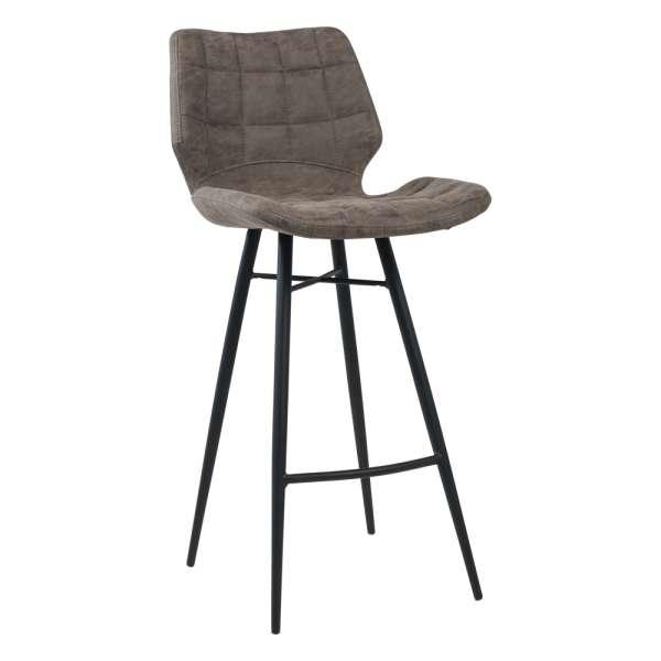 Tabouret design inspiration vintage coque matelassée patinée gris mat et pieds en métal noir - Impia - 6