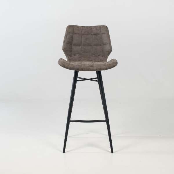 Tabouret design inspiration vintage coque matelassée patinée gris mat et pieds en métal noir - Impia - 7
